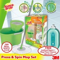 3M Scotch Brite T4 Press and Spin Mop With Refill and Free method Squirt Floor Cleaner