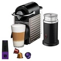 Nespresso Pixie Original Espresso Machine with Aeroccino Milk Frother Bundle by Breville, Titan , Nespresso by Breville with Aeroccino - Titan