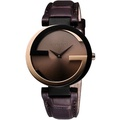 GUCCI 古馳  Interlocking 時尚元素18K玫塊金腕錶 YA133304