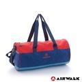 AIRWALK -跳躍節奏 亮彩輕量尼龍運動旅行圓筒包(附收納束口袋)-藍桔