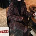 歐美韓版ZARA秋冬款復古拼色格紋西裝外套女英倫學院風中長款寬松毛呢大衣外套現貨+實拍