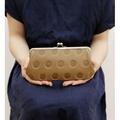 caa751a09410 日本製KANMI 正品真皮牛皮子母口金水玉圓點壓印珠扣包