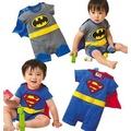 嬰兒連身衣短袖超人蝙蝠俠哈衣嬰幼兒造型連身衣爬服帶披風