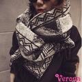 【Verona】韓系雙面幾何圖案加厚流蘇圍巾披肩