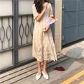 💋時尚 甜美鏤空蕾絲鉤花短袖連衣裙夏季韓國寬松超仙女長裙+內搭吊帶裙