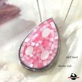 【HEMAKING】純銀天然貝殼水滴型項鍊-粉紅(貝殼.純銀)