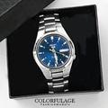 獨特藍極光SEIKO精工五號 自動上鍊機械錶 不鏽鋼實心錶帶 柒彩年代【NE1051】附贈禮盒+提袋