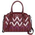 COACH MINI SAGE酒紅粉紫拼色風琴紋全皮三層手提/斜背小包