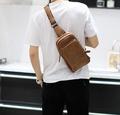 FINDSENSE Z1 韓國 時尚 潮 男 軟皮 休閒單肩包 胸包 斜挎包 斜背包 大容量