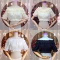 日式lolita洋裝夏內搭一字肩雪紡蕾絲內搭荷葉領圓領短袖高腰小衫短袖上衣