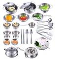 【現貨】不鏽鋼仿真兒童迷你辦家家酒廚房烹飪玩具28件套組(配玩具爐子)