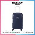 Delsey Belfort Plus 55cm 4 Double Wheels Trolley Case Luggage 20inch Cabin Size - Blue