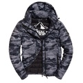 美國百分百【Superdry】極度乾燥 FUJI 風衣 鋪棉 連帽 外套 防風 夾克 黑灰迷彩 S M L號 I755