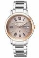CITIZEN星辰錶 EW2424-50Y xC 亞州限定魅力光動能羅馬女錶/銀+玫瑰金面 33mm