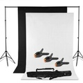 2x 3m x 1.6m Adjustable Heavy duty Photo Backdrop Support Stand Kit   Black White Backdrop screen + Background Support System + backdrop clamps + Carry bag- Photo Studio Photography Set- Photo Studio Background Stand Support Kit