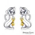 STEVEN YANG【KG4104】正白K飾「鈴鐺貓咪」耳針式耳環 甜美可愛 *一對價格* 銀色白水晶
