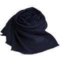 MOSCHINO 品牌字母圖騰LOGO高質感素雅義大利製披肩圍巾(深藍)