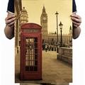 懷舊復古經典牛皮紙海報壁貼咖啡館裝飾畫仿舊掛畫●世界建築地標系列-倫敦紅色電話亭B款