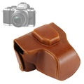 38f1fa9f7133 Oil Skin PU Leather Camera Case Bag with Strap for Olympus EM10(Brown)