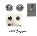 Authentic Tory BurchTory Burch 41145502 Natalie Domed Logo Gray Black Crystals Stud Earrings