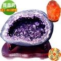紅運當家 超稀有 烏拉圭天然紫水晶洞 聚寶盆+台灣木製底座(14公斤)