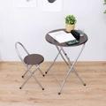 【頂堅】[耐重型]圓形折疊桌椅組/洽談桌椅組/餐桌椅組(1桌1椅)-二色可選
