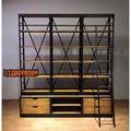 【BIgBoyRoom】工業風家具 法式復古書架 大型書架陳列書櫃 鐵架圖書館架書櫃 LOFT實木美式復古 客製化隔間牆