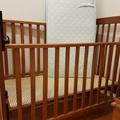 隨便賣~~~二手嬰兒床 木質床 床+IKEA床墊+2件床包+1件保潔墊