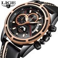 LIGE Watch Men's Fashion Sports Quartz Clock Leather Mens Watches Top Brand Luxury Waterproof Military Watch