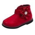 Tideshop เด็กทารกหญิงอบอุ่น Martin รองเท้าผ้าใบรองเท้าบูทเดินหิมะสำหรับเด็กสบายๆรองเท้าลายดอกไม้