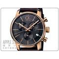 【蘋果小舖】 CK Calvin Klein 簡約時尚三眼計時皮帶錶-玫瑰金 K2G276G3