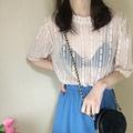 蕾絲小衫女春裝2019款韓版短袖內搭很仙的上衣顯瘦洋氣網紗打底衫
