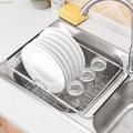 耐用現貨廚房碗碟瀝水架不銹鋼 可伸縮果蔬收納籃 大號環保水杯碗筷收納架