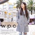 【w.p.c.】雙排釦連帽款。時尚雨衣/風衣(R1019)_黑白格紋