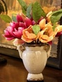 歐式複古藍色白色雙耳花瓶地中海鄉村復古做舊花器