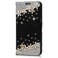 Luxury Girl Lady Fashion Diamond Black Roses Case Case For Samsung Galaxy A8 Star / A9 Star Flip Rhinestone Wallet Leather Handmade Cover For Samsung Galaxy A8 Star / A9 Star