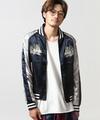 橫須賀外套NAVY×SILVER 夾克 刺繡 緞面
