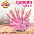 KOH-I-NOOR HARDTMUTH 光之山捷克色鉛筆刺蝟筆筒小 –粉紅波紋