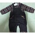 (秋冬)諾貝達 格子牛仔連身衣 假兩件 男童裝 藍色 二手全新