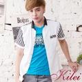 【Kilei】直條印花拼接襯衫XA1464-01(品味白)賠售特價