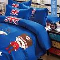 【韋恩寢具】柔絲絨韓版風被套床包組-雙人/英倫士兵
