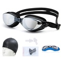 Woman and man Swim Gear, Swim Goggles + Swim Cap + Case + Ear Plugs, Swimming Goggles with silicon cap - intl