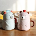 Bear Ceramic Mug 400ml Coffee Cup Porcelain With Lid Milk Coffee Mug Tea Cup Home Office Cup