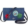 COACH牛仔布海洋扶桑花刺繡翻蓋長夾式手抓/斜背小包