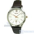 【錶飾精品】SEIKO 手錶 精工表 SGEH55P1 藍寶石水晶鏡面 日期 玫金色時標 米白面咖啡皮帶 男錶