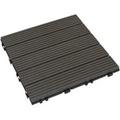 【貝力地板】太陽神DIY塑木止滑踏板 (30 x 30cm - 深灰直條 - 9片/箱)