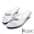 GDC-性感水鑽簍空玻璃透明感楔型拖鞋-銀色