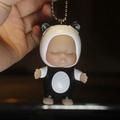 睡眠宝宝男女汽车钥匙扣钥匙链圈睡萌娃娃包挂件 黄蜂娃娃+黄白+黄绳 黑色 黑白娃娃