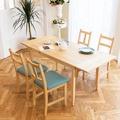 CiS自然行實木家具-雙邊延伸實木餐桌椅組一桌四椅 74*166公分/原木+藍椅墊