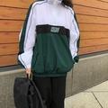 祖母綠 Nike 撞色 拼色 拼接 半拉鍊 衝鋒衣 長袖